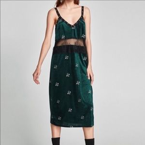 ZARA  EMBROIDERED VELVET MAXI MIDI DRESS STUDDED